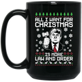 Wheel Spin Addict 15 oz Mug, Trump Law and Order Christmas Black Mug