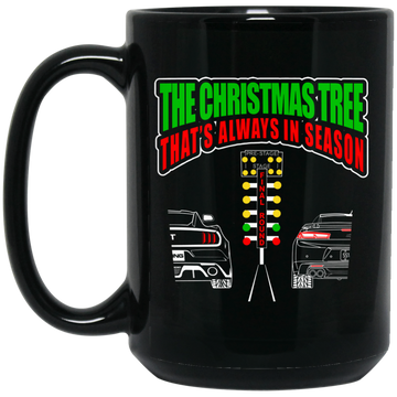 Wheel Spin Addict Drag Race Christmas 15 oz. Black Mug