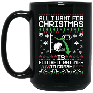 Wheel Spin Addict 15 oz Mug, I Want Football Ratings To Crash Christmas Black Mug