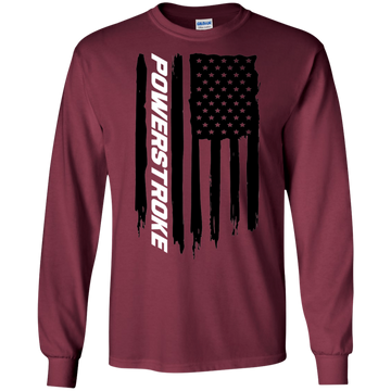 Power Stroke F-250 F-350 American Flag T-Shirt Long Sleeve