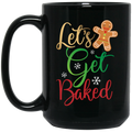 Wheel Spin Addict 15 oz Mug, Let's Get Baked Gingerbread Man Christmas Black Mug