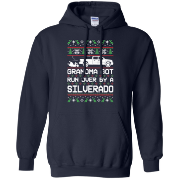 Chevy Silverado Classic Ugly Christmas Grandma Got Run Over Pullover Hoodie