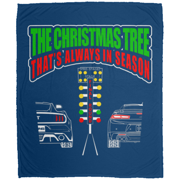Wheel Spin Addict Christmas Tree Mustang vs Camaro Fleece Blanket - 50x60
