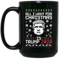 Wheel Spin Addict 15 oz Mug, Trump 2020 Christmas Black Mug