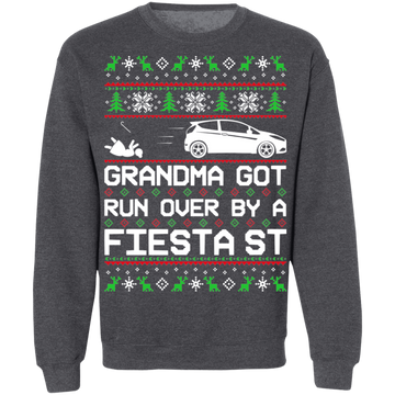 Ford Fiesta ST Ugly Christmas Grandma Got Run Over Crewneck Sweatshirt