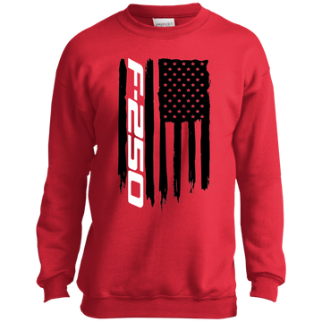 Youth F-250 F250 Super Duty Power Stroke American Flag Crewneck Sweatshirt