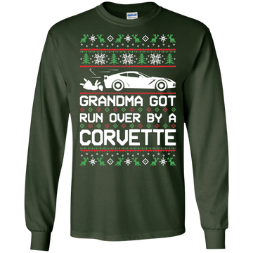 Chevy Corvette C7 Ugly Christmas Grandma Got Run Over by a Corvette T-Shirt Long Sleeve