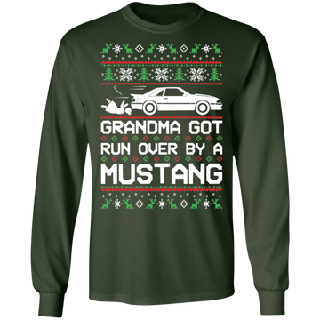 Foxbody Mustang Grandma Got Run Over Ugly Christmas Long Sleeve T-Shirt
