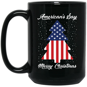 Wheel Spin Addict 15 oz Mug, American's Say Merry Christmas Flag Tree Black Mug