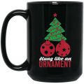 Wheel Spin Addict 15 oz Mug, Hung Like An Ornament Christmas Tree Black Mug