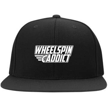 WheelSpinAddict Logo Flat Bill High-Profile Snapback Hat
