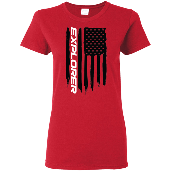 Ford Explorer Ecboboost American Flag Ladies' T-Shirt