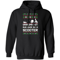 Scooter Moped Vespa Ugly Christmas Grandma Got Run Over Pullover Hoodie