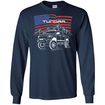 Toyota Tundra Off-Road Overland American Flag Long Sleeve T-Shirt