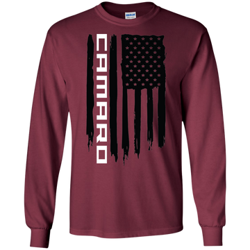 Chevy Camaro SS RS ZL1  American Flag T-Shirt Long Sleeve