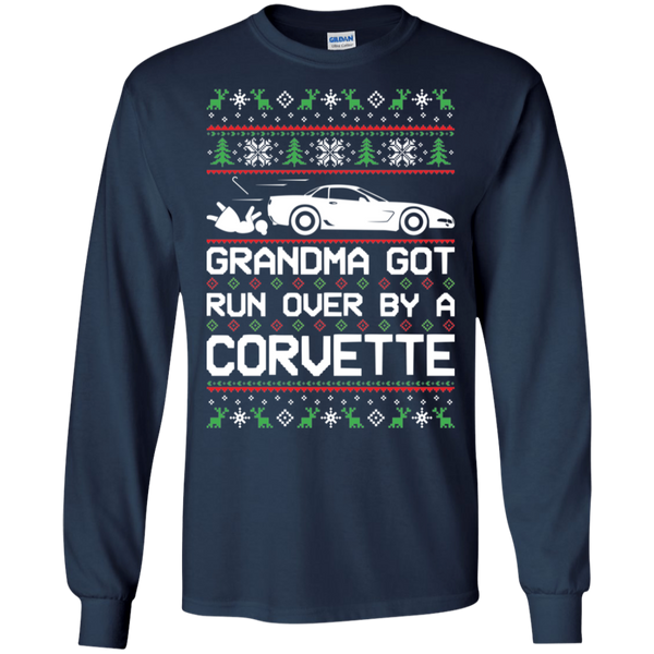 Chevy Corvette C5 Ugly Christmas Grandma Got Run Over by a Corvette T-Shirt Long Sleeve