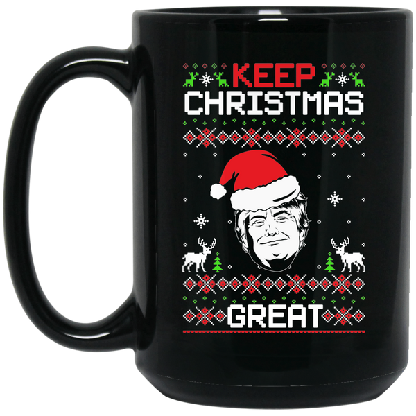 Wheel Spin Addict Trump USA Christmas 15 oz. Black Mug