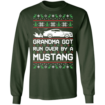 S550 Mustang Grandma Got Run Over Ugly Christmas 2015-2020 Long Sleeve T-Shirt