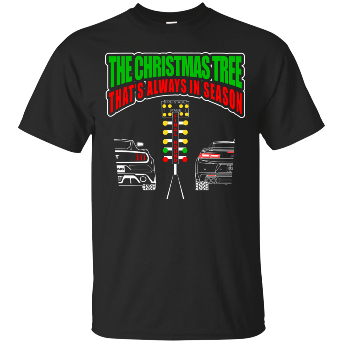 Christmas Tree Drag Light Mustang vs Camaro T Shirt