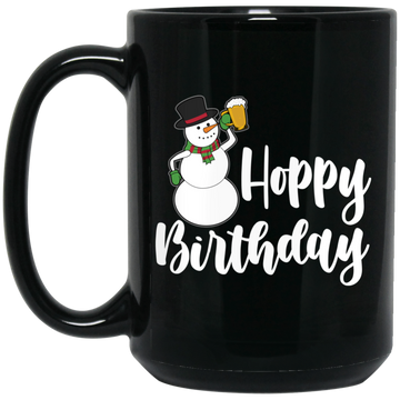 Wheel Spin Addict 15 oz Mug, Hoppy Birthday Snowman Christmas Black Mug