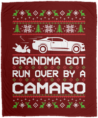 Wheel Spin Addict Ugly Christmas Chevy Camaro 6th Gen Fleece Blanket - 50x60