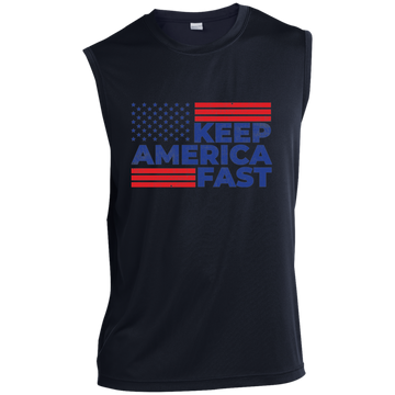 Keep America Fast American Flag Racing Sleeveless Performance T-Shirt
