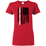 S550 Ford Mustang Coyote 5.0 Ecoboost 2015 2016 2017 2018 2019 American Flag Ladies'  T-Shirt