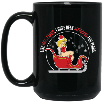 Wheel Spin Addict 15 oz Mug, Sleighing For Years Mrs. Claus Christmas Black Mug