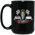 Wheel Spin Addict Mustang Drag Race Christmas 15 oz. Black Mug