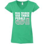 Real Women 3 pedals Fitted Softstyle 4.5 oz V-Neck T-Shirt