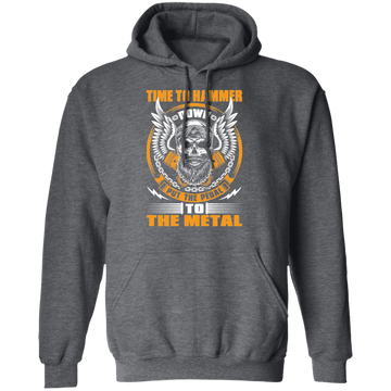 Time to Hammer Down Put the Pedal to the Metal Racing Bearded Skull Pullover Hoodie