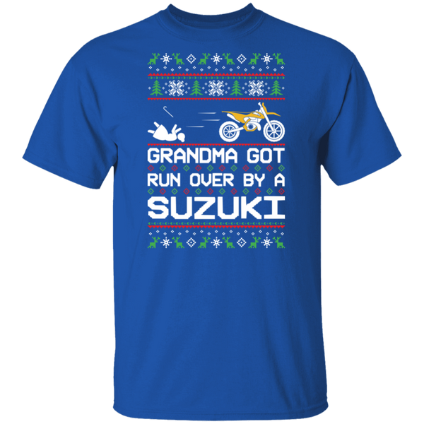 Suzuki Dirt Bike Motorcycle Ugly Christmas Grandma Got Run Over T-Shirt