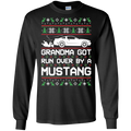 S197 Grandma Got Run Over by a Mustang Cotton T-Shirt Long Sleeve
