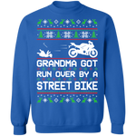 Street Bike Ugly Christmas Grandma Got Run Over Crewneck Sweatshirt
