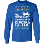 Electra Glide Motorcycle Ugly Christmas Grandma Got Run Over Long Sleeve T-Shirt