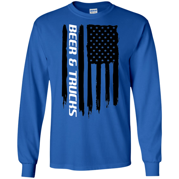 Beer & Trucks 'Merica American Flag Long Sleeve T-Shirt
