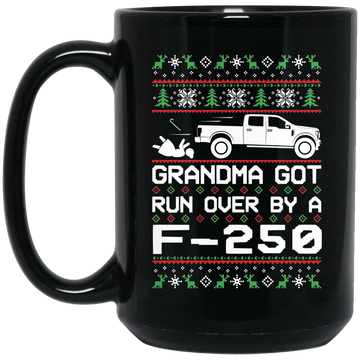 Wheel Spin Addict F250 F-250 Truck Christmas 15 oz. Black Mug