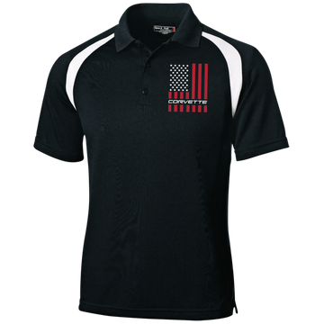 Corvette American Flag Moisture-Wicking Tag-Free Golf Shirt