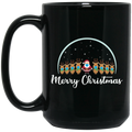 Wheel Spin Addict 15 oz Mug, Merry Christmas Santa Reindeer Masked Black Mug