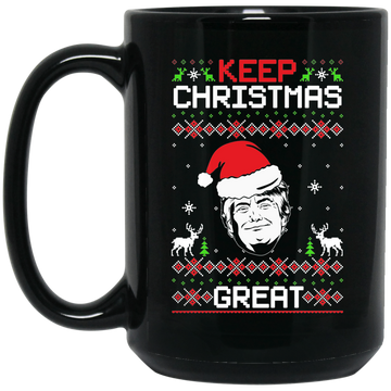Wheel Spin Addict 15 oz Mug, Keep Christmas Great Trump Black Mug