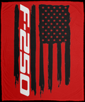 Ford F-250 American Flag Velveteen Micro Fleece Blanket - 50x60