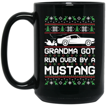 Wheel Spin Addict Mustang Classic Christmas 15 oz. Black Mug