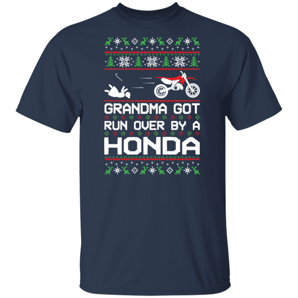 Honda Dirt Bike Motorcycle Ugly Christmas Grandma Got Run Over T-Shirt