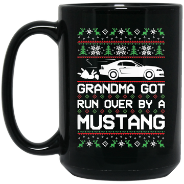 Wheel Spin Addict Mustang New Edge Christmas 15 oz. Black Mug