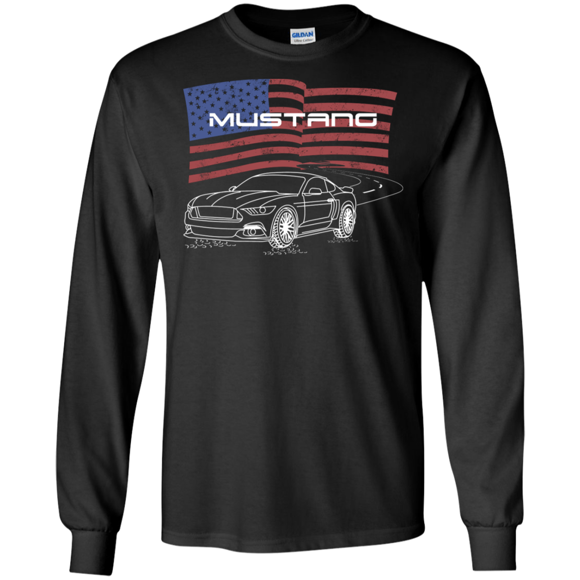 S550 Ford Mustang 5 0 Coyote 2 3 Ecoboost American Flag Long Sleeve T Shirt
