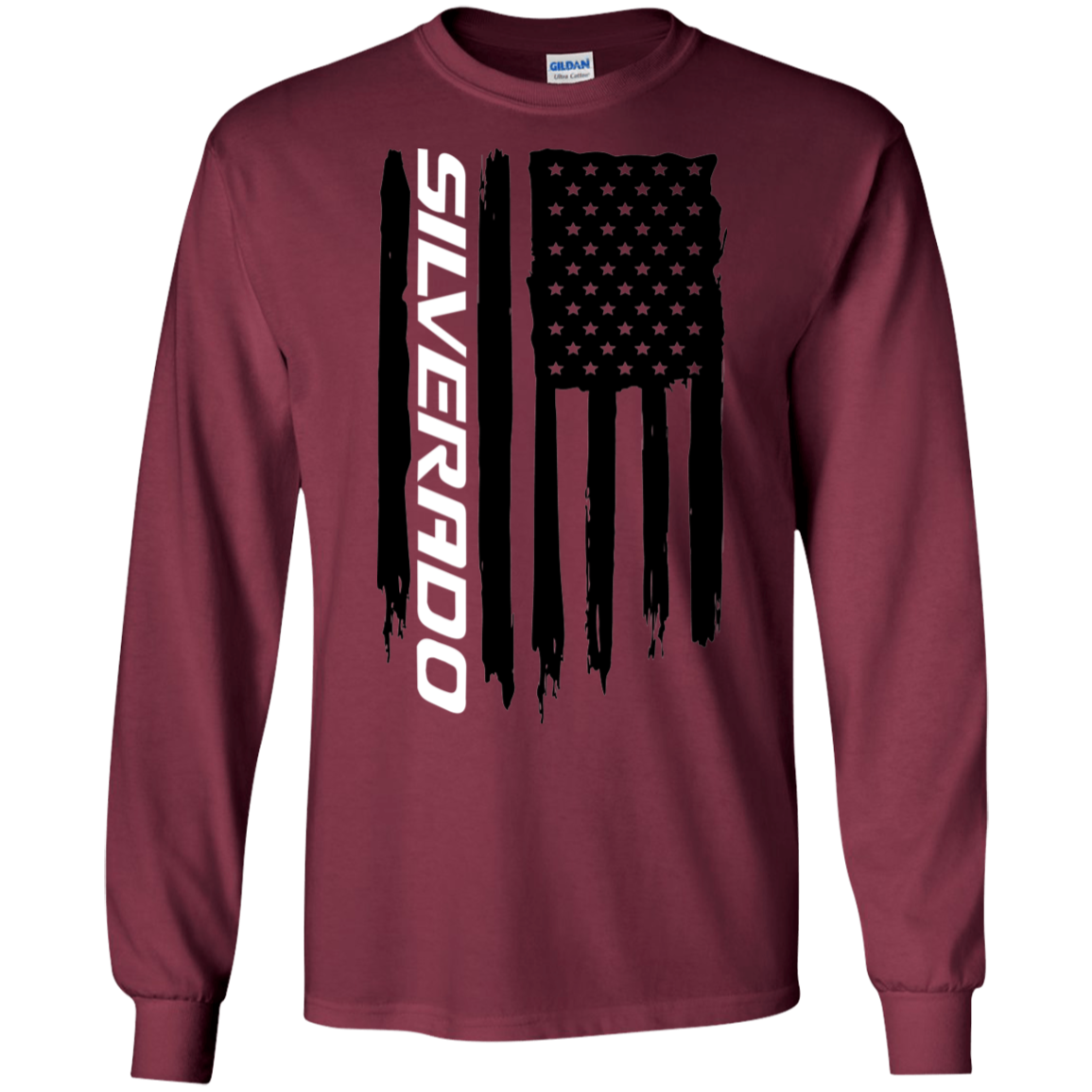 Chevy Silverado 1500 2500 3500 American Flag T Shirt Long Sleeve