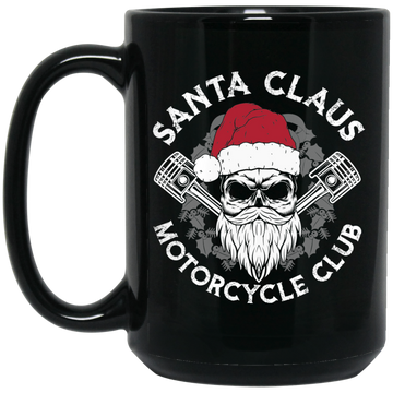 Wheel Spin Addict 15 oz Mug, Santa Claus Motorcycle Club Christmas Black Mug