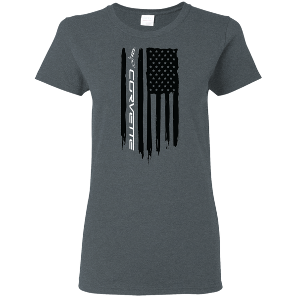 Chevy Corvette C1 C2 C3 C4 C5 C6 C7 American Flag Ladies' T-Shirt