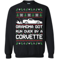 Chevy Corvette C6 Ugly Christmas Grandma Got Run Over by a Corvette Pullover Sweatshirt