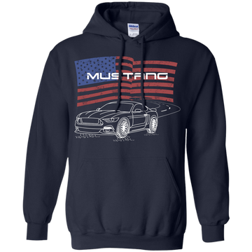 S550 Ford Mustang 5.0 Coyote 2.3 Ecoboost American Flag Pullover Hoodie
